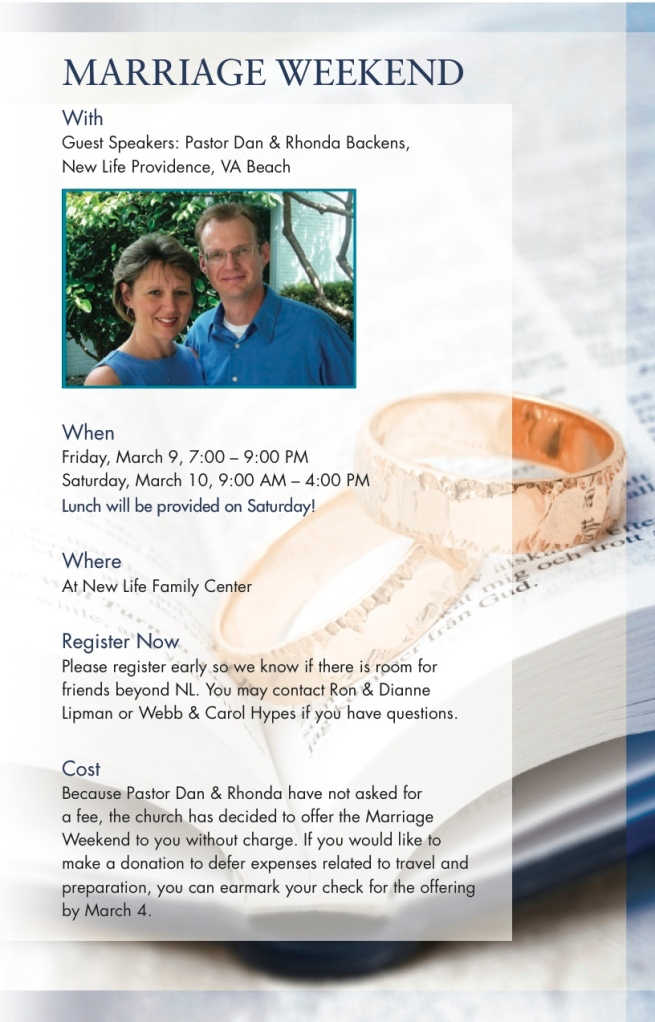 Marriage Weekend Information